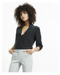 Express - Black Original Fit Convertible Sleeve Portofino Shirt - Lyst