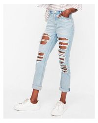 Express Blue High Waisted Destroyed Studded Boyfriend Jeans, Women's Size:4