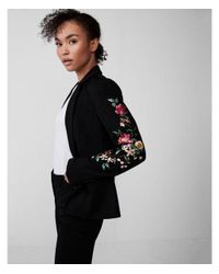 Express Black Floral Embroidered One Button Blazer