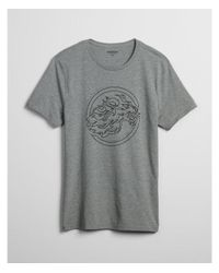Express Gray Heathered Lion Logo Crew Neck Graphic Tee for men