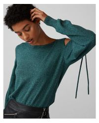 Express Blue Marled Cut-out Shoulder Tie Sleeve Sweater