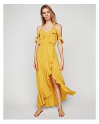 Express Yellow Cold Shoulder Ruffle Front Fit And Flare Maxi Dress