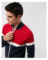 Express - Red Color Blocked Zip Sweater for Men - Lyst