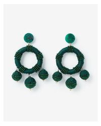 Express Green Wrapped Circle Bauble Drop Earrings