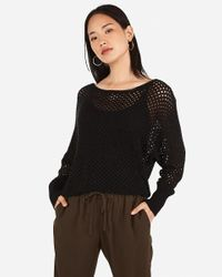 Express Open Stitch Dolman Sweater Black