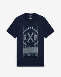 Express Navy Long Sleeve Graphic T-shirt Blue for men