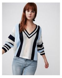 Express Blue Mix Stitch Striped V-neck Sweater