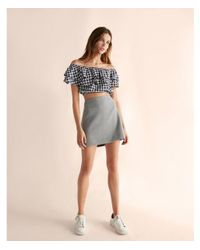 Express Blue Gingham Off The Shoulder Tiered Cropped Top