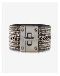 Express - Gray Rhinestone Chain Turnlock Cuff Bracelet - Lyst