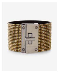Express - Metallic Pave Turnlock Cuff Bracelet - Lyst