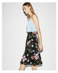Express Black High Waisted Floral Cotton Midi Skirt