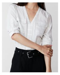 Express - Gray Petite Striped Two Pocket Shirt - Lyst
