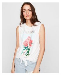 Express White Floral Graphic Tie Front Tank