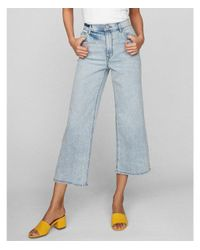 Express Blue Extreme High Waisted Original Cropped Wide Leg Jeans, Women's Size:8