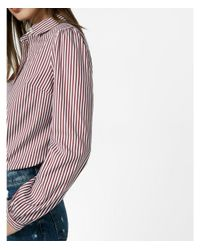 Express Red Striped Puff Sleeve Essential Shirt
