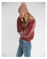 Express Pink Lush Chenille V-neck Sweater