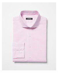 Express - Pink Slim Check Pattern Spread Collar Dress Shirt for Men - Lyst
