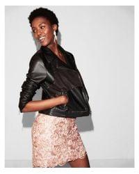 Express Black Faux Suede Front Faux Leather Jacket