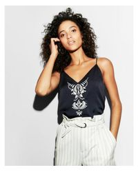 Express Blue Embroidered Satin Cami