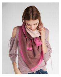 Express - Red Ombré Square Oblong Scarf - Lyst