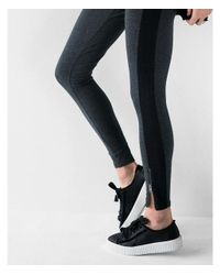 Express - Gray High Waisted Sexy Stretch Striped Zip Leggings - Lyst
