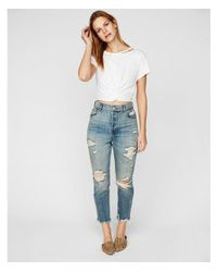 Express White One Eleven Twist Front Abbreviated Tee