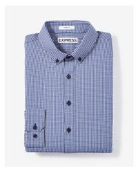 Express - Blue Slim Fit Small Check Performance Dress Shirt for Men - Lyst