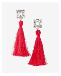 Express - Pink Square Stone Tassel Earrings - Lyst
