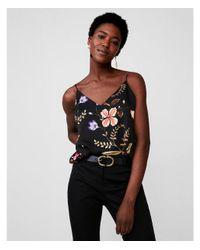 Express Black Floral V-neck Satin Cami