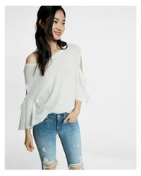 Express - White Drop Shoulder Cutout Flare Sleeve Pullover Sweater - Lyst