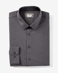 Express | Gray Athletic Fit Textured 1mx Dress Shirt for Men | Lyst