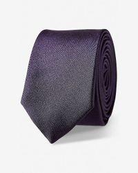 Express Purple Solid Skinny Silk Tie for men
