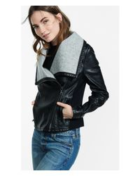Express Black Bonded (minus The) Leather Wide Collar Jacket