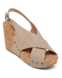 Lucky Brand | Gray Minari Leather Open-toe Wedge Sandals | Lyst