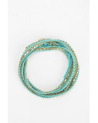 Urban Outfitters - Blue Chaincord Wrap Bracelet - Lyst
