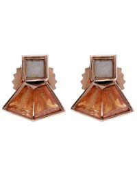 Nak Armstrong - Orange Mosaic Gemstone Stud Earrings - Lyst