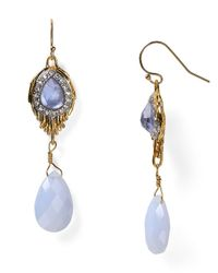 Alexis Bittar - Metallic Pave Crystal Feathered Doublet Chalcedony Drop Earrings - Lyst