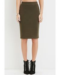 Forever 21 - Green Stretch-knit Pencil Skirt - Lyst