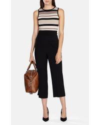 Karen Millen - Black Graphic Shiny Rayon Stripe Knit Top - Lyst
