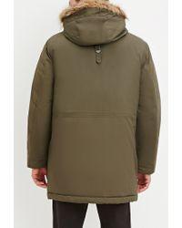 Forever 21 - Green Faux Fur Hooded Parka for Men - Lyst