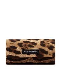 Dolce & Gabbana Multicolor Leopard Print Browline Acetate Sunglasses