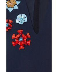 Delpozo Blue Flower Embellished Cropped Jacket