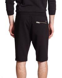 DIESEL - Black Cotton Sweat Shorts - Lyst