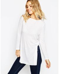 ASOS - White Longline Top With Side Splits And Long Sleeves - Lyst
