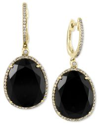 Effy Collection | Eclipse By Effy Black Onyx (11-3/8 Ct. T.w.) And Diamond (1/3 Ct. T.w.) Drop Earrings In 14k Gold | Lyst