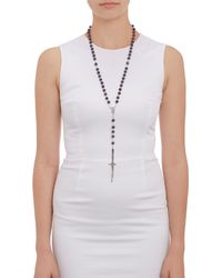 Pamela Love | Metallic Amethyst Rosary Necklace with Silver Dagger Pendant | Lyst