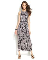 INC International Concepts - Black Petite Printed Maxi Halter Dress - Lyst