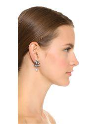DANNIJO - Metallic Jia Earrings - Clear/ox Silver - Lyst