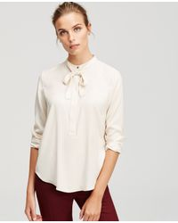 Ann Taylor - Natural Silky Tie Neck Blouse - Lyst
