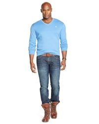 Polo Ralph Lauren | Blue Big And Tall Pima V-neck Sweater for Men | Lyst
